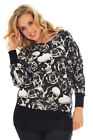 New Womens Skull & Roses Ladies Batwing Top Long Sleeve Tunic Nouvelle Plus Size