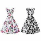 Vintage Floral Printed Swing Cocktail Sleeveless Dress Women's Party Dress
