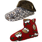 Ladies Womens Red Christmas Pudding Boot Slippers Leopard Fleece Slipper Boots