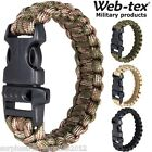 WEB-TEX PARA CORD SURVIVAL WRIST BAND EMERGENCY WHISTLE MILITARY ARMY BRACELET