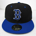 Boston Red Sox Black On Blue All Sizes Fitted Cap Hat by New Era