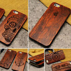 '100% Natural Wooden Rose Wood Carved Tough Slip On Case For Iphone 5 5s 6 6s Se