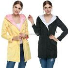 Women Long Sleeve Hooded Trench Coat Drawstring Waist Outwear Jacket New K0E1