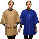 Womens Cape Long Coat Zip UP Batwing Poncho Jacket Outwear Khaki Blue K0E1