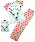 Womens Disney Bambi Sketch Floral Gift Pack Pyjamas Plus Sizes 8 to 22