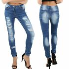 Womens Ladies Destroyed Rip Distressed Straight Fit Denim Jeans Bottom Trousers