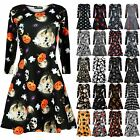 Kids Girls Halloween Pumpkin Full Sleeve Cobweb Spider Spooky Skater Swing Dress