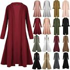 Womens Ladies Floaty Casual Waterfall Long Sleeves Open Front Maxi Long Cardigan