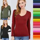 Women's V-Neck Cotton Long Sleeve T-Shirt Soft Stretchy Top Basic Tee #T9665