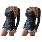 Fashion Camouflage Printed Pattern Split Joint Blouse Tops T-shirt Casual Women
