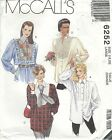 McCall's 6252 Misses' Shirts   Sewing Pattern