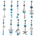 10 Styles Sexy 14g Blue Crystal Dangle Belly Button Ring Navel Bell Bar Piercing