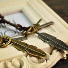 Men Women Leather Rope Feather Ring Pendant Necklace Gift for Couple Magic