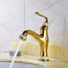 New Pull Out Golden Brass Lavatory Faucet Single Handle Deck Mounted Sink Mixer