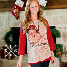 Xmas Women Lace Long Sleeve T Shirt Tops Jumper Blouse Casual Pullover Sweater