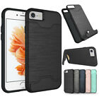 For iPhone 8 7 6s Plus Slim Credit Card Holder Hybrid Hard Kickstand Case Cover
