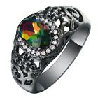 Fashion Women 10Kt Black Gold Filled Rainbow Crystal Ring Size 6/7/8/9 /10