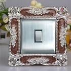 Luxurious Embossment Acrylic Gold & Silver Light Switch Surround, Wall Strickers