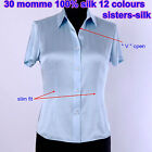 Womens 30MM 100% Pure Silk Blouse Short Sleeve Slim Fit Shirts Tops Size 8-24