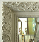 Ornate Embossed Wall Framed Mirror, Bathroom Vanity Mirror Antique White, Gold