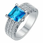 Women 925 Silver white& Sapphire Ring Wedding Engagement Propose Jewelry