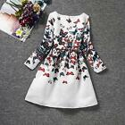 Girl Kid Long Sleeve Dress Flower Butterfly Wedding Party Clothes Skirt Gown New