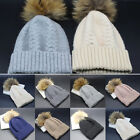 New Women Men Cashmere Blend Knit Braided Hat Real Fur Pompom Beanie Ski Cap