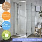 Pivot Shower Enclosure Cubicle Door Side Panel Stone Resin Tray & Free Waste