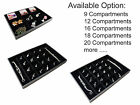 Black Velvet Compartment Jewelry Display Countertop Case Showcase Tray