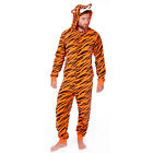 Mens Onezee Fun Novelty Soft Fleece Tiger Print Onesies All In One Face On Hood
