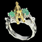 GORGEOUS NATURAL 6x4mm GREEN EMERALD STERLING 925 SILVER HORSE RING 9.5 HANDMADE