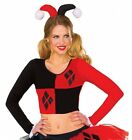 Adult size Black and Red Harley Quinn Crop Top - 2 sizes Batman Villian fnt