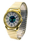 SHANNONS:WOMEN'S GOLD/SILVER FINISH METAL STRETCH EXPENSION BAND ANALOG WATCH