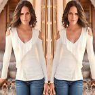 CHIC Fashion Women's Autumn Long Sleeve Tops Blouse Off Shoulder Casual T-shirt