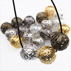 New Mixed Round Ball Hollow Flower Charms Iron Spacer Beads Finding Fit DIY 12mm