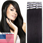US STOCK 16''-20'' Seamless Tape In Skin Weft Remy Human Hair Extensions Black