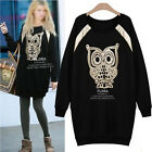 Fashion Autumn Winter Women Cute Owl Print Loose Sweater Tops Blouse Long Sleeve