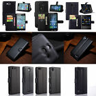 Black Luxury Flip PU Leather Card Slot Case Stand Cover Wallet For Mobile Phone