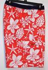 NWT Mens Chaps Cargo Swim Trunks Shorts ElasticBand L XL XXL Orange White Floral