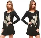Black Gold Red Glitter Reindeer Long Sleeve Scoop Neck Tunic Tee Mini Dress NWT