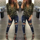 Fashion Women V-Neck Lace Up Camo T-Shirt Long Sleeve Casual Loose Blouse Tops