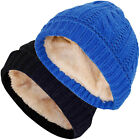New Ladies Cable Knit Sherpa Fleece Lined Women Cap Winter Warm Heat Casual Hat