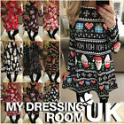 Uk Womens Xmas Santa Dress Ladies Christmas Snowman Mini Swing Dress Size 6 - 22