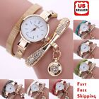 New Women's Fashion Ladies Faux Leather Rhinestone Analog Quartz Wrist Watches image