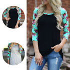 Fashion Women Flower Print Casual Blouse Long Sleeve Loose Tops Pullover T-Shirt