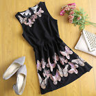 Women Ladies Casual Sleeveless Butterfly Black Mini Dress Evening Party Cocktail