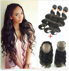 8A Malaysia human Hair Weave 3 Bundles Body Wave+ 360 Lace Frontal Band Closure