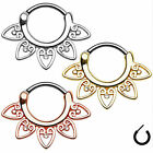 UP 1pc New Titanium Gem Septum 16G Hinged Clicker Daith Nose Ring Body Piercing