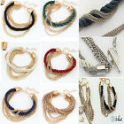 Hot Women Bohemia Multilayer 18K Gold Plated Rope Weave Tassel Bracelets Bangle