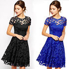 Elegant Womens Floral Lace Prom Cocktail Party Evening Ladies Short Dress S~XL